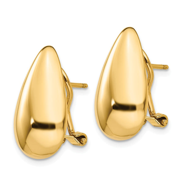 14k Polished Teardrop Omega Back Post Earrings