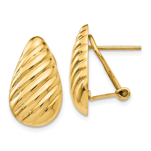 14k Polished Diagonal Teardrop Omega Back Post Earrings
