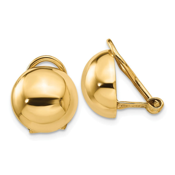 14k Non-pierced Half Ball Omega Back Earrings