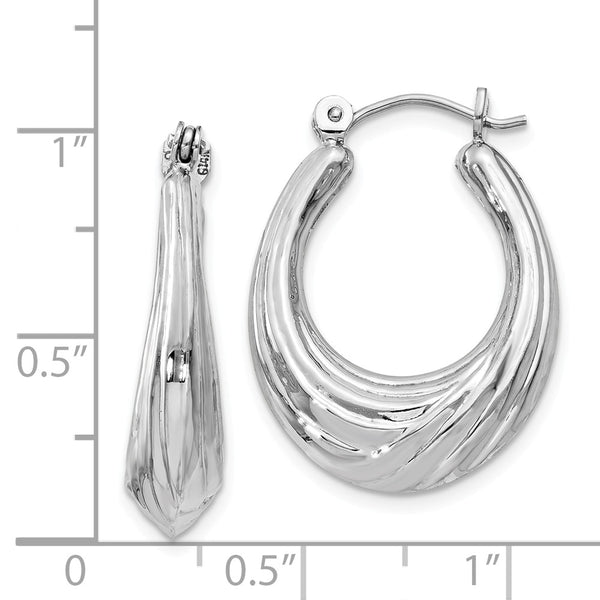 14k White Gold Polished Swirl Hoop Earrings