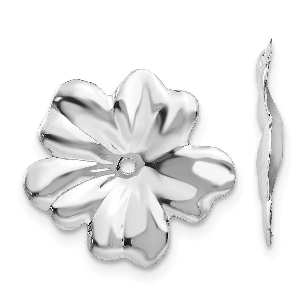 14k White Gold Floral Earring Jackets