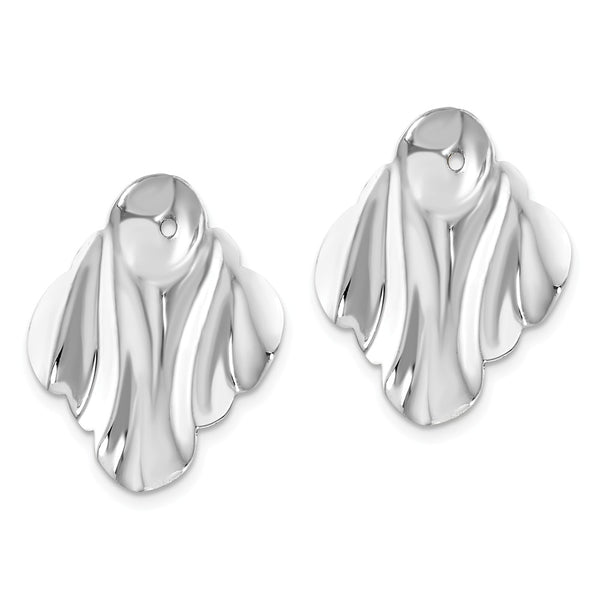 14k White Gold Polished Hammered Fancy Earring Jackets