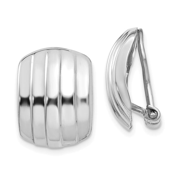 14k White Gold Polished Ribbed Non-pierced Omega Back Earrings