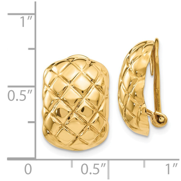 14k Polished Quilted Non-pierced Omega Back Earrings