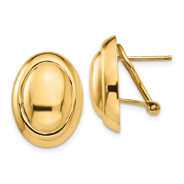 14k Polished Button Omega Back Post Earrings