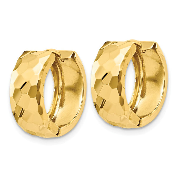 14k Faceted & Polished Hinged 6mm Hoop Earrings