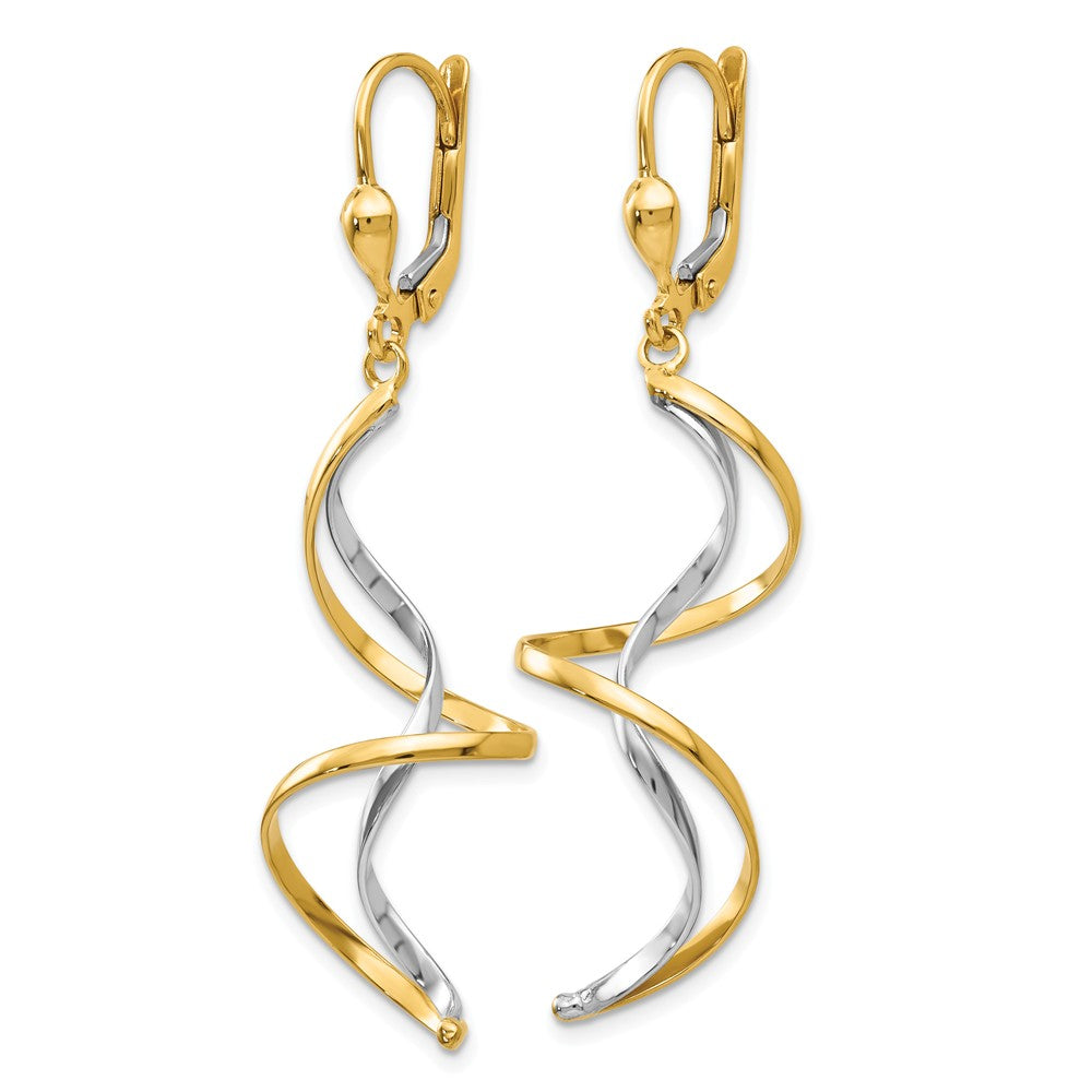 14k Two-tone Spiral Dangle Earrings