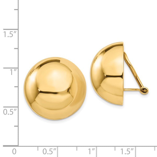 14k Omega Clip 20mm Half Ball Non-pierced Earrings