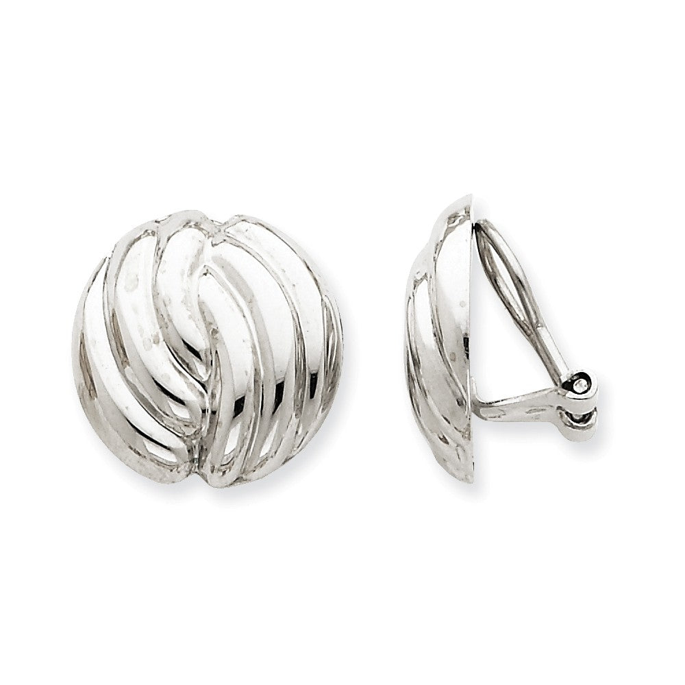 14k White Gold Omega Clip Non-pierced Earrings