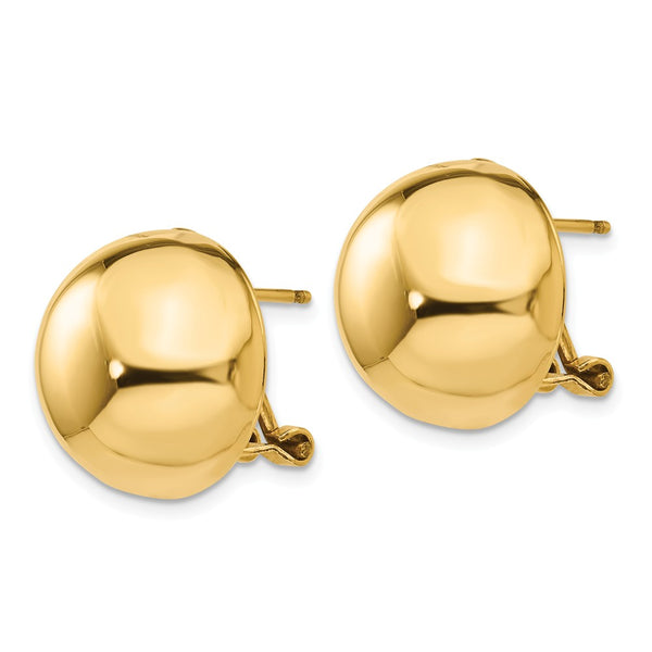 14k Omega Clip 16mm Half Ball Earrings