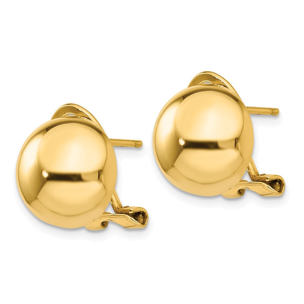 14k Omega Clip 12mm Half Ball Earrings