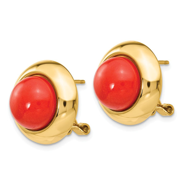 14k Omega Clip Reconstituted Coral Earrings