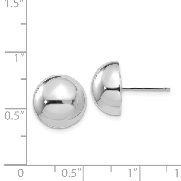 14k White Gold 12mm Half Ball Post Earrings