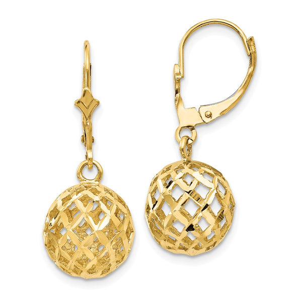 14k Polished & Diamond-Cut Mesh Ball Dangle Leverback Earrings