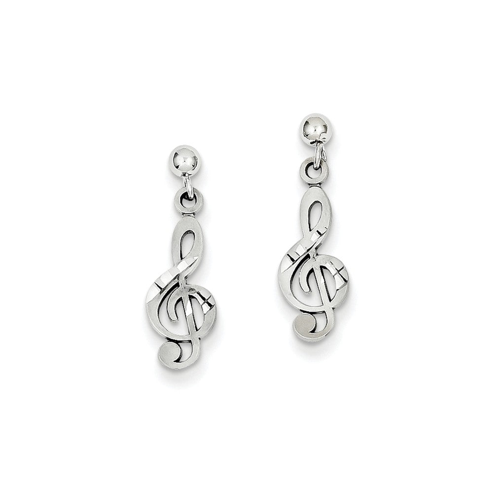 14k White Gold Treble Clef Dangle Earrings