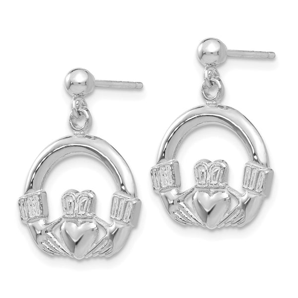 14k White Gold Solid Polished Flat-Backed Claddagh Earrings