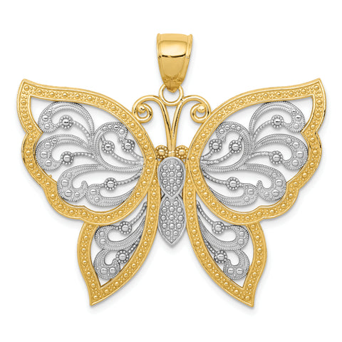 14K & Rhodium Diamond-cut Butterfly Pendant