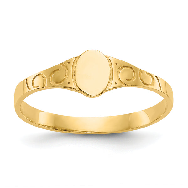 14K Oval Baby Signet Ring