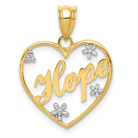 14K & Rhodium Diamond-cut Hope Heart Pendant