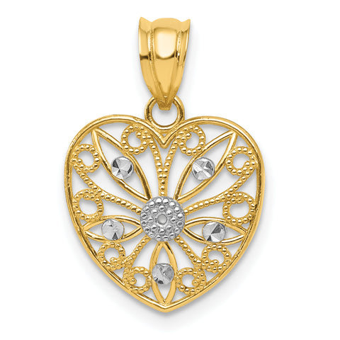 14K & Rhodium Diamond-cut Fancy Filigree Heart Pendant