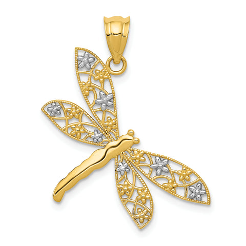 14K & Rhodium Filigree Dragonfly Pendant