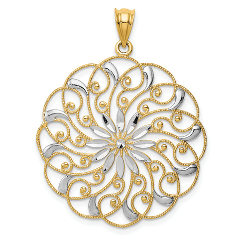 14K & Rhodium Diamond-cut Fancy Swirl Pendant