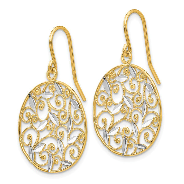 14K & Rhodium Diamond-cut Filigree Circle Wire Earrings