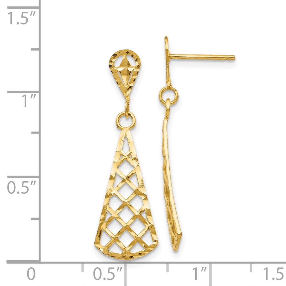 14K Diamond-cut Inverted Fan Dangle Post Earring