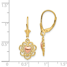 Load image into Gallery viewer, 14K Two-tone Heart with Lace Trim Leverback Earrings