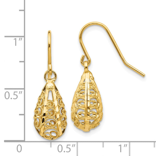 14K 3-D Diamond-cut Teardrop Dangle Wire Earrings