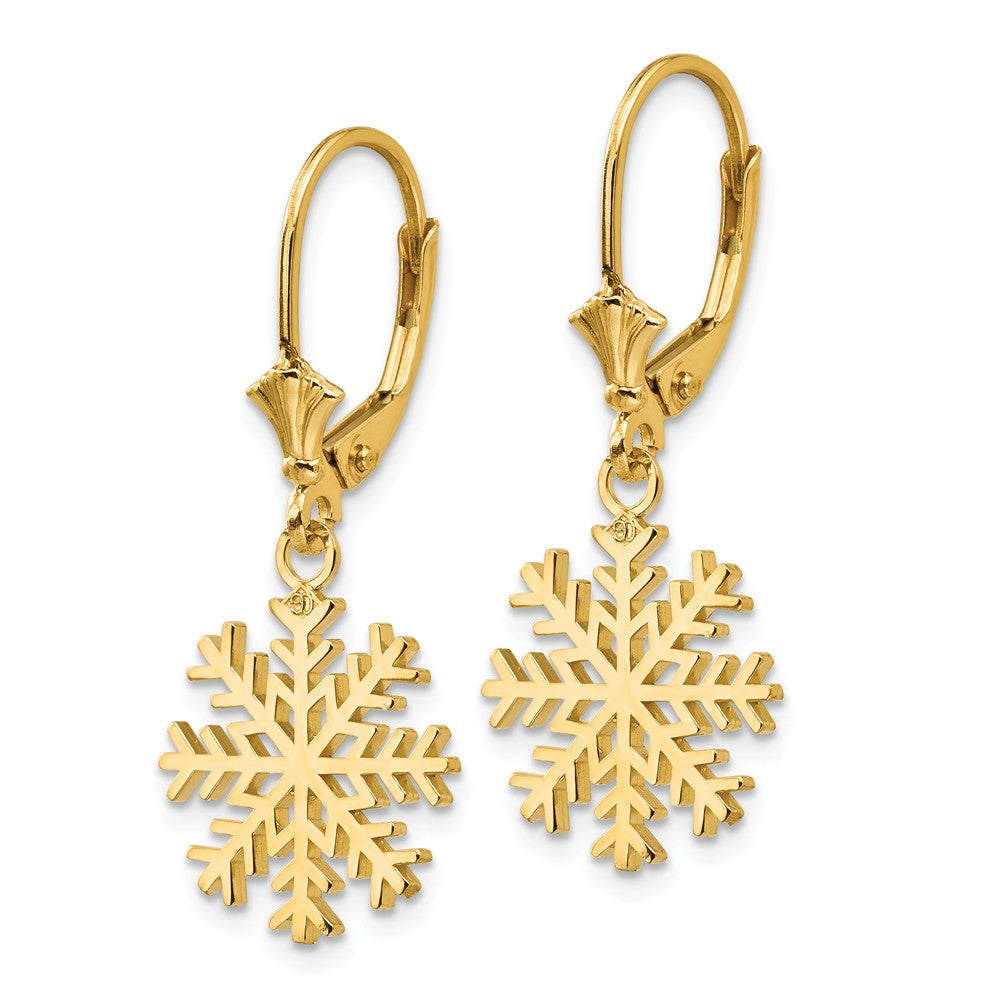 14K Snowflake Leverback Earrings