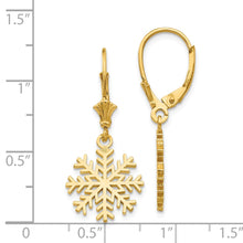 Load image into Gallery viewer, 14K Snowflake Leverback Earrings