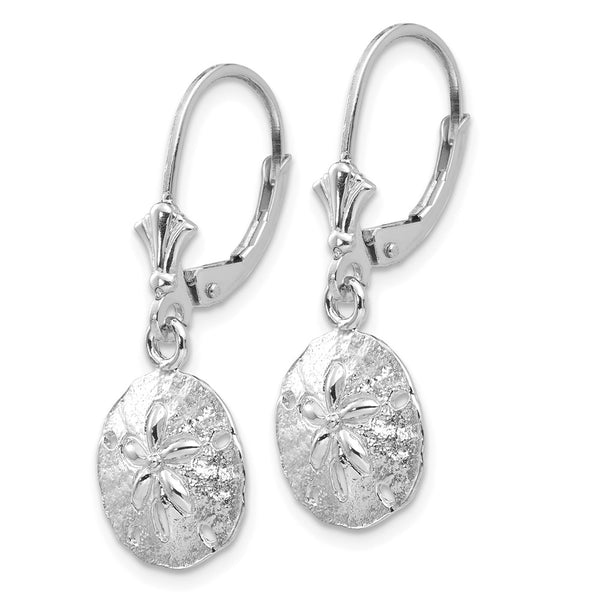 14K White Gold Sand Dollar Leverback Earrings