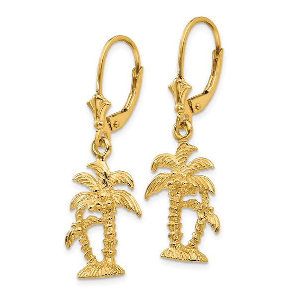 14K 3-D Double Palm Trees Leverback Earrings
