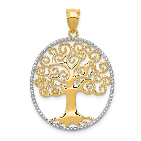 14K & Rhodium Filigree Tree of Life Pendant