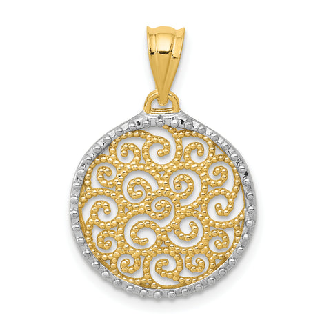 14K & Rhodium Filigree Circle Pendant