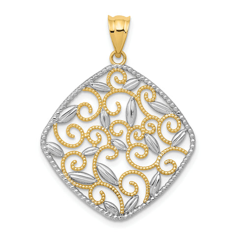 14K & Rhodium Diamond-cut Filigree Swirl Pendant