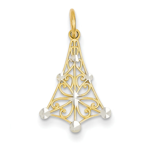 14K & Rhodium Polished Fancy Pendant