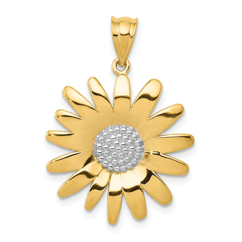 14K & Rhodium Sunflower Pendant
