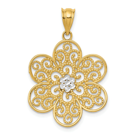 14K & Rhodium Diamond-cut Concave Filigree Flower Pendant