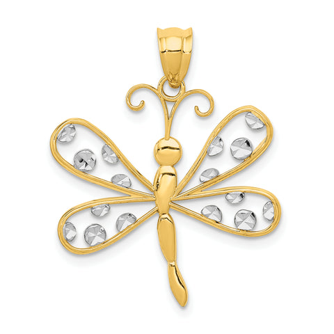 14K & Rhodium Diamond-cut Dragonfly Pendant