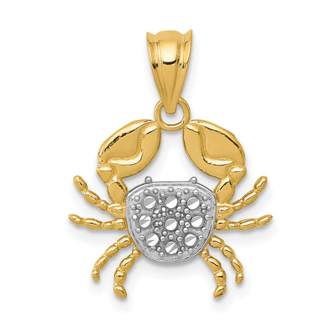 14K & Rhodium Diamond-cut Crab Pendant