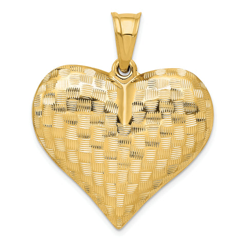 14K Textured Puff Heart Pendant