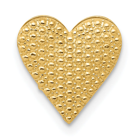 14K Gold Polished Reversible Cut-out Heart Chain Slide