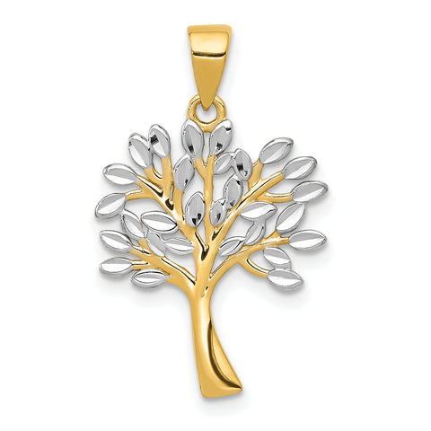 14K & Rhodium Diamond Cut Tree Pendant