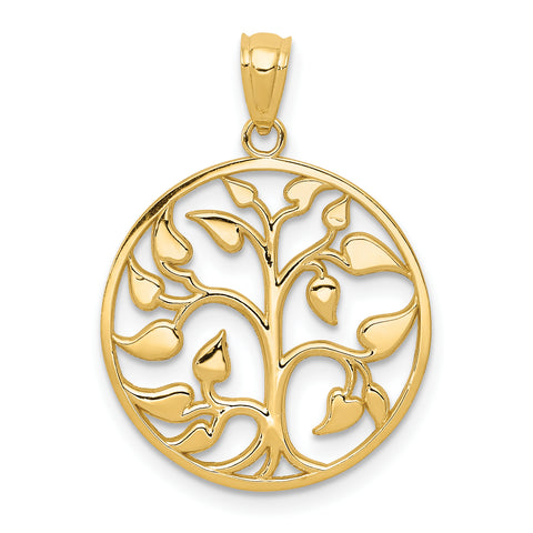 14K Gold Polished Cut-out Tree of Life Round Pendant