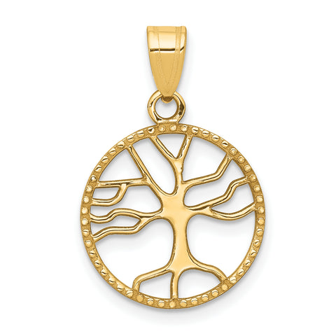 14K Gold Polished Small Tree of Life in Round Pendant