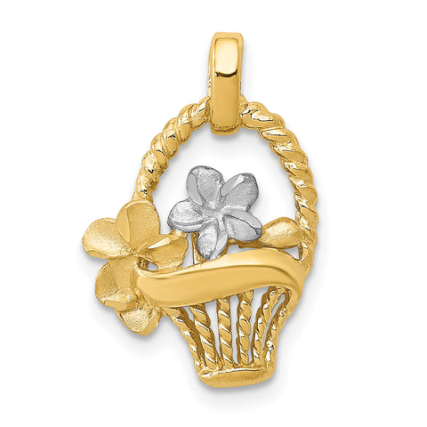 14K & Rhodium Satin/Polished Basket w/Flowers Pendant