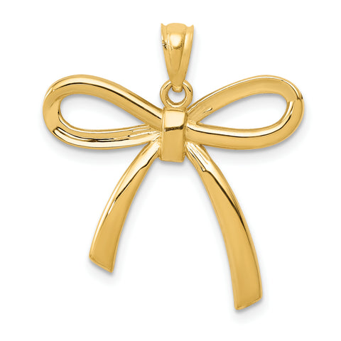 14K Gold Polished Ribbon Bow Pendant