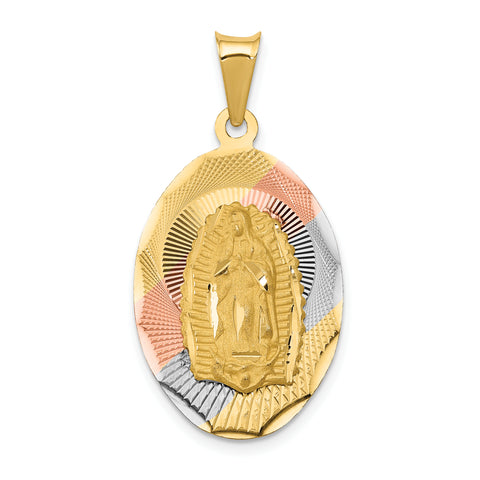 14K & Rhodium Polished & D/C Lady of Guadalupe Oval Pendant